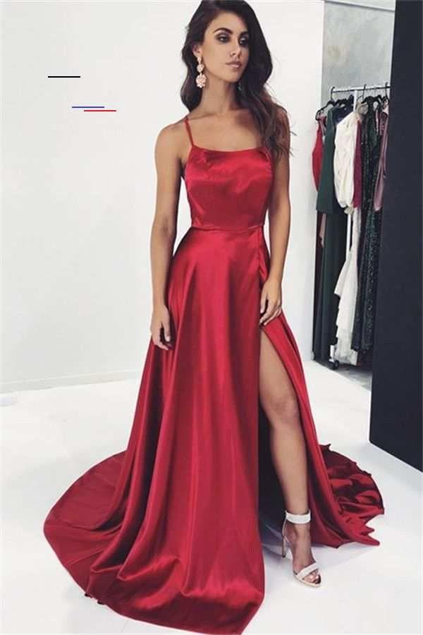 Schlichtes Abendkleid Lang Rot  Abendkleider Günstig