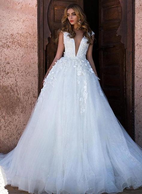Schlichtes Brautkleid A Linie  Hochzeitskleid Prinzessin