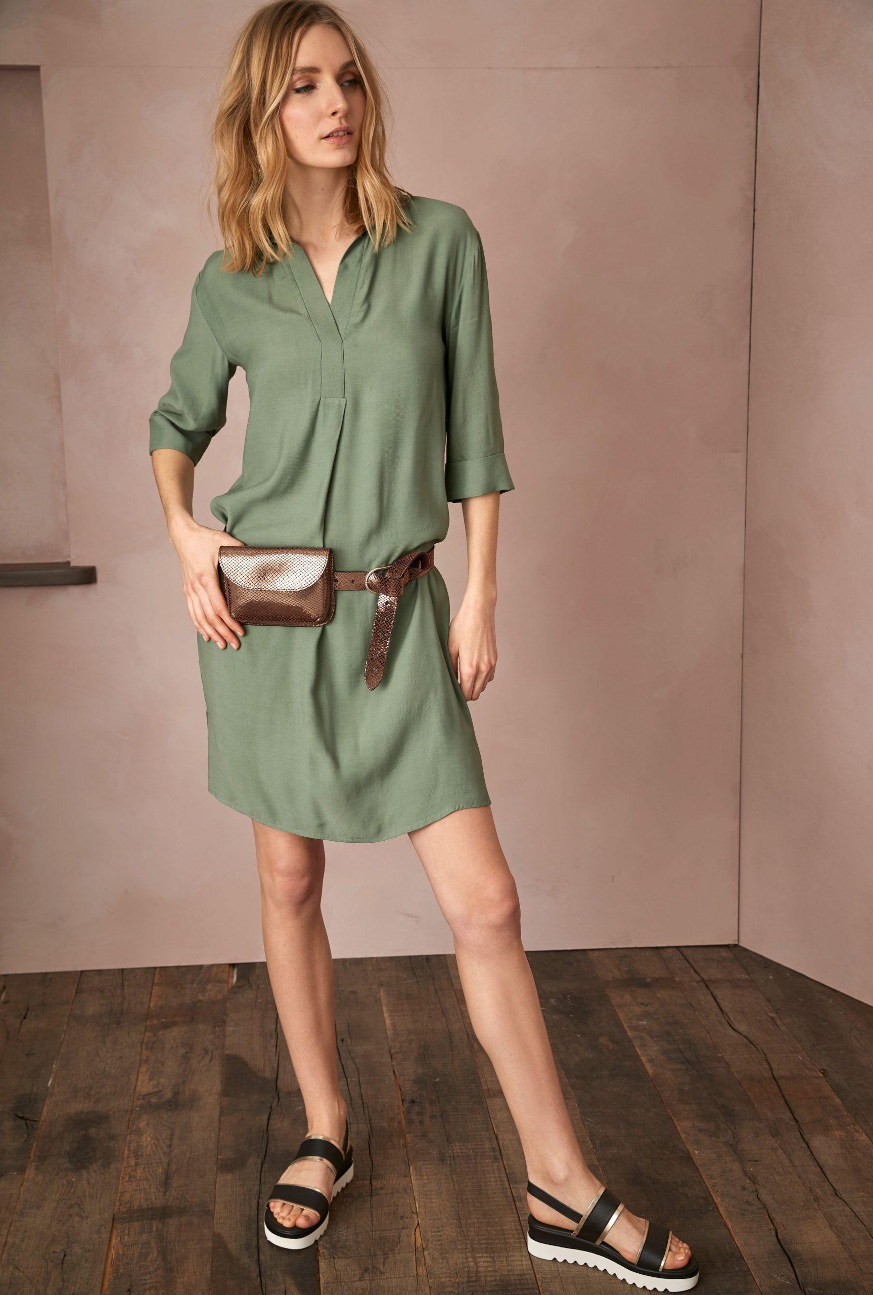 Schlichtes Hemdblusenkleid In Khaki Impressionen Fashion