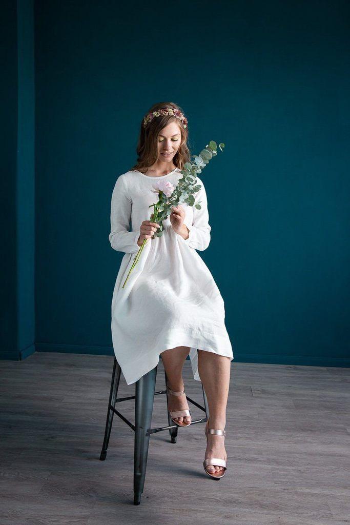 Schlichtes Smock Kleid Aus Leinen White Magnolia In 2020