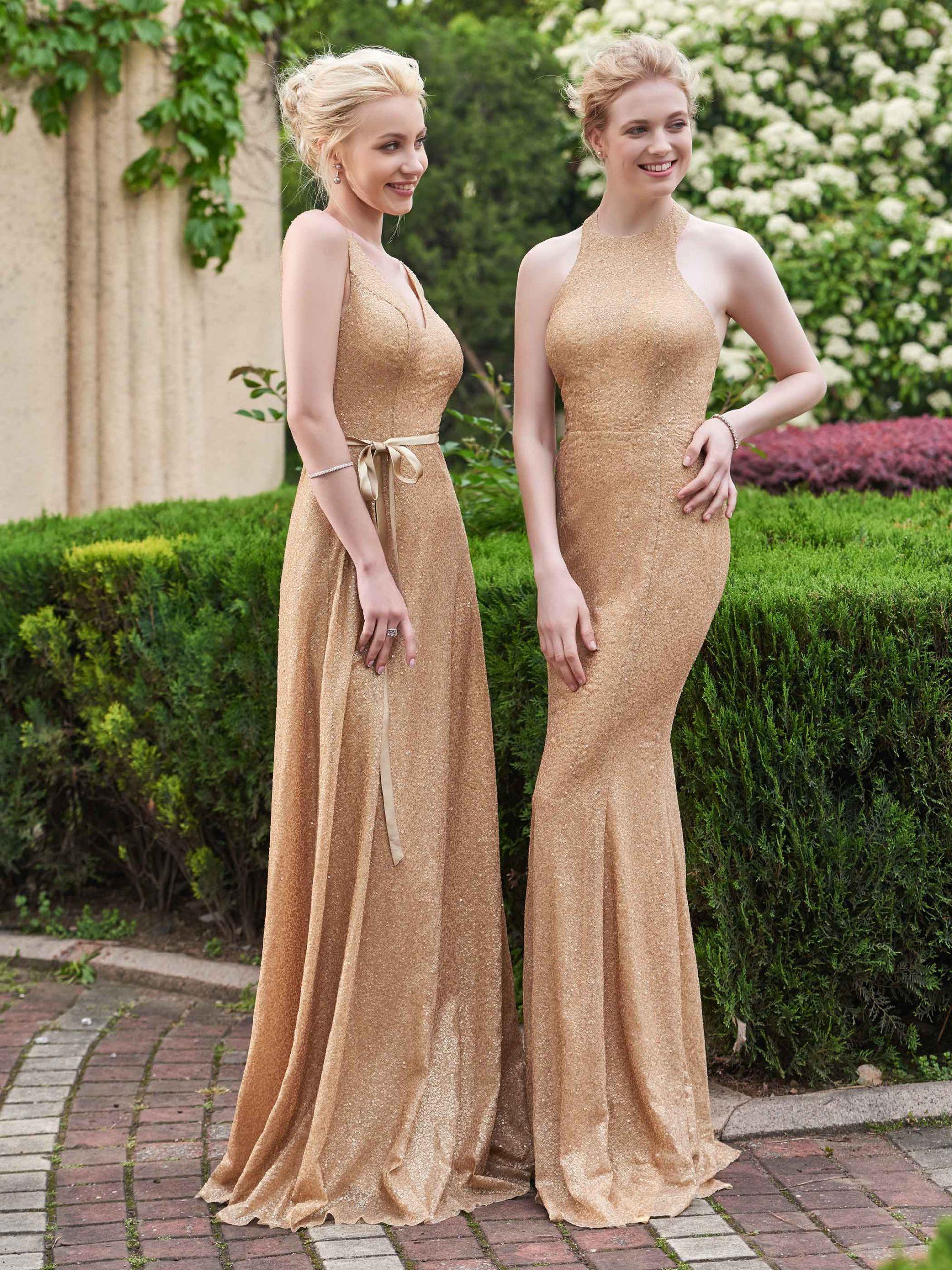 Schlinge Kragen Sleeveless Bodenlang Pailletten Hochzeit