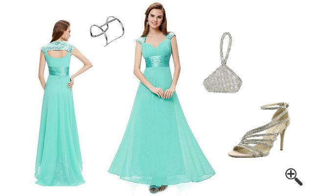 Schöne Brautjungfernkleider In Türkis  Lang  3 Outfits