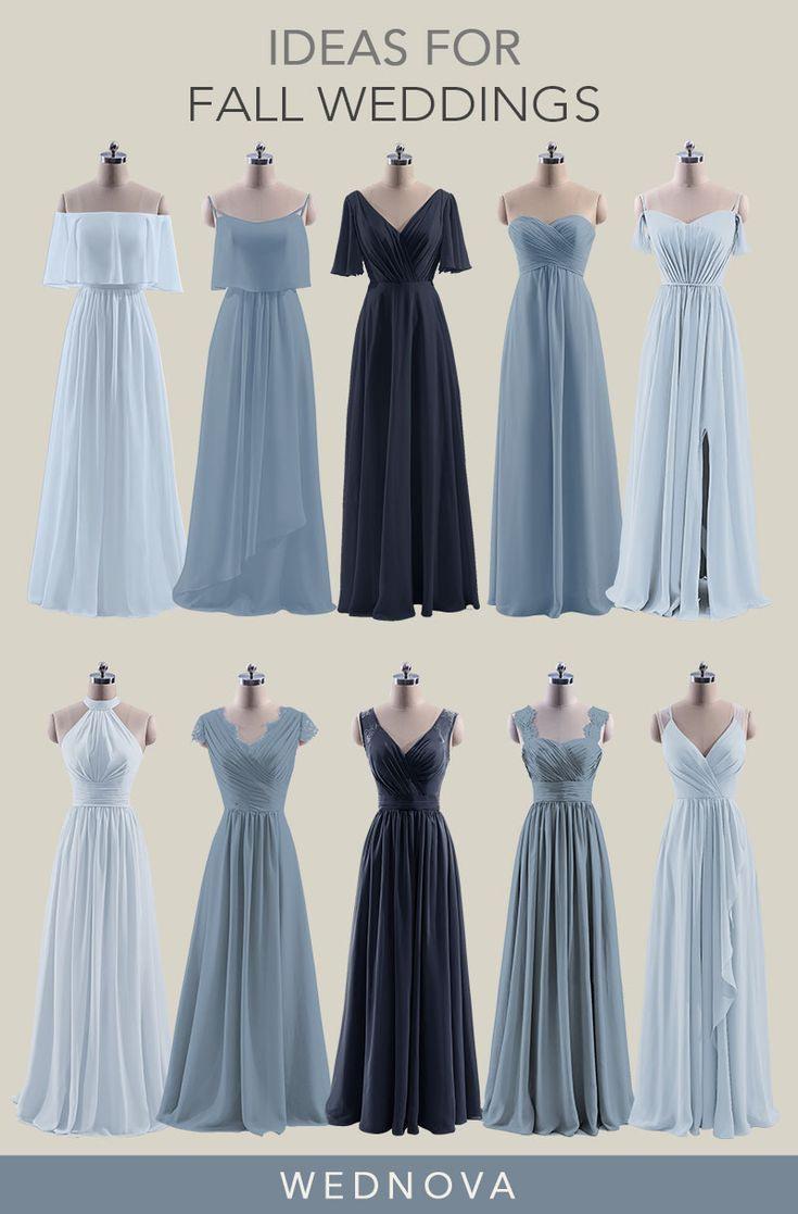 Schöne Chiffon Brautjungfer Kleider Blauen Schatz Kleid