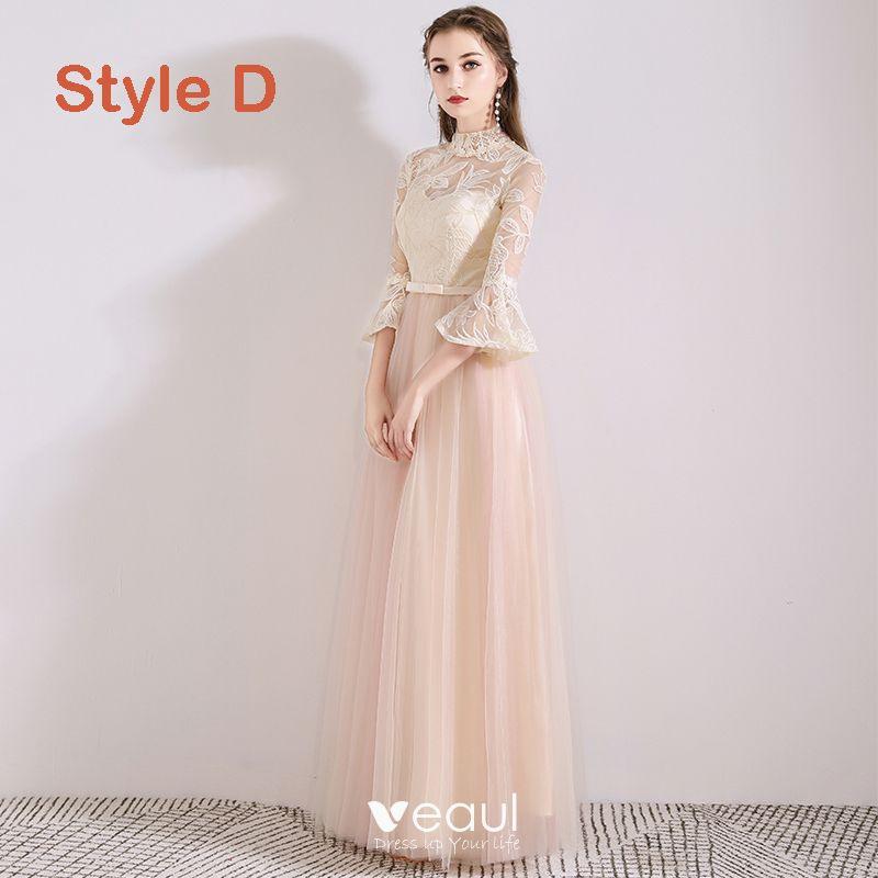 Schöne Pearl Rosa Durchsichtige Brautjungfernkleider 2019