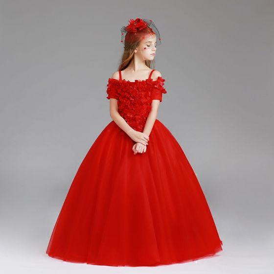 Schöne Rot Mädchenkleider 2017 Ballkleid Off Shoulder