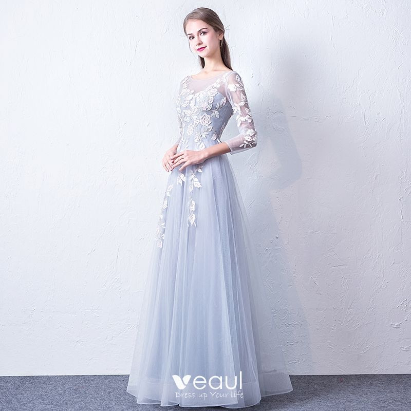 Schöne Silber Durchsichtige Abendkleider 2018 A Linie