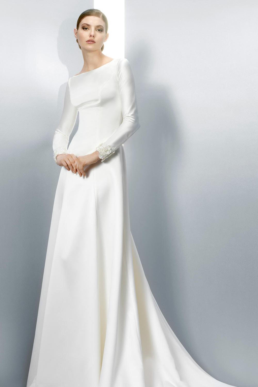 Schönes Ivory Alinie Satin Bootausschnitt Brautkleider