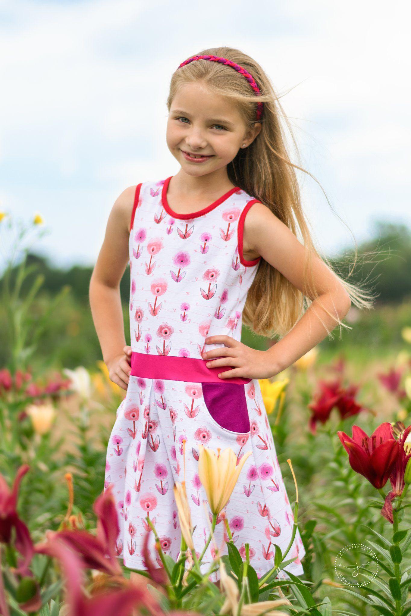 Schönes Sommerkleid Für Mädchen Nähen  Sommerkleid