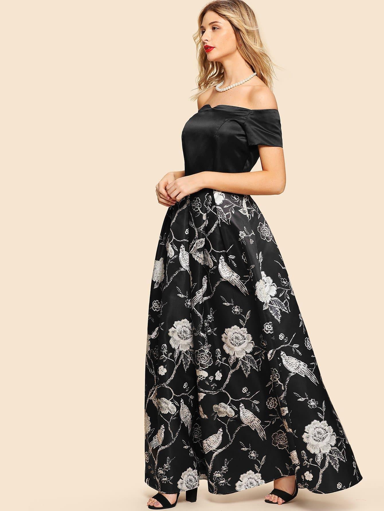 Schulterfreies Kleid Mit Blumenmuster  Shein