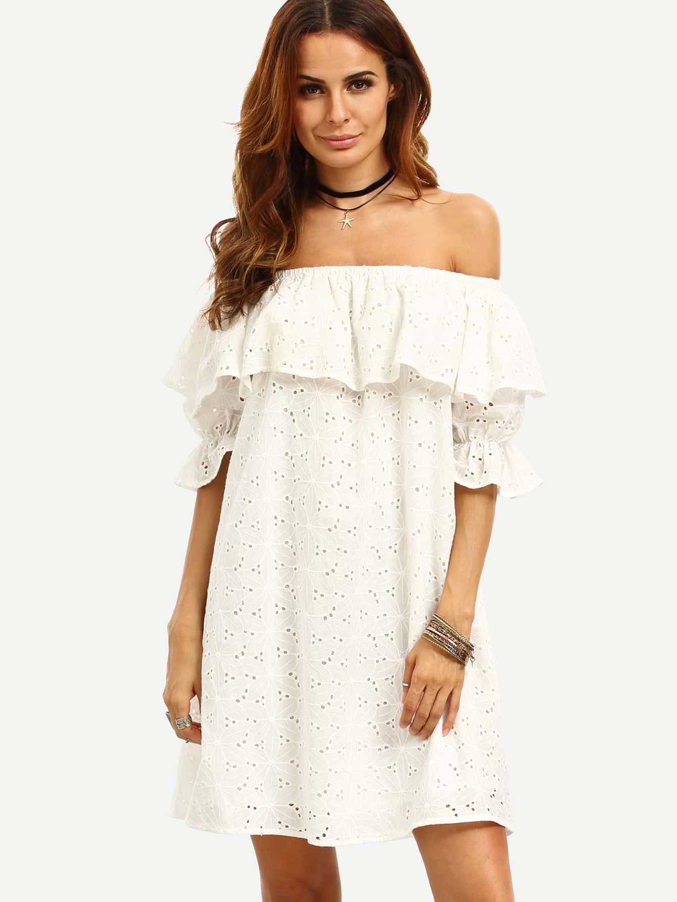 Schulterfreies Kleid Mit Rüschen  Weiß  Shein