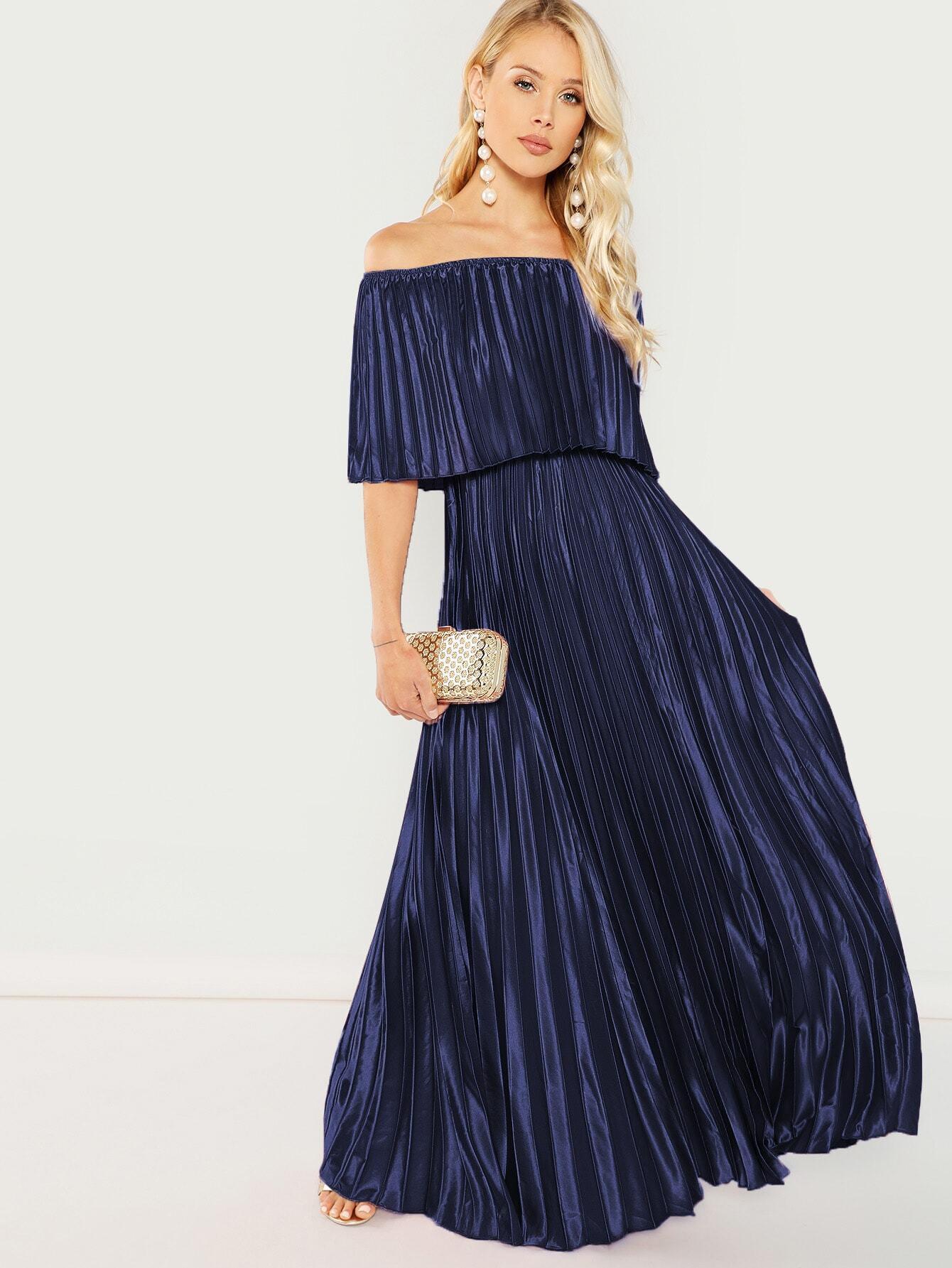 Schulterfreies Satin Kleid Mit Plissee Und Schößchen  Shein