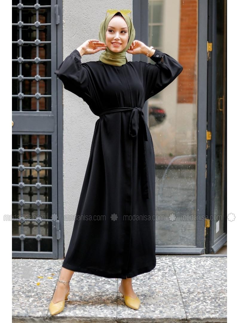 Schwarz  Hijab Kleid