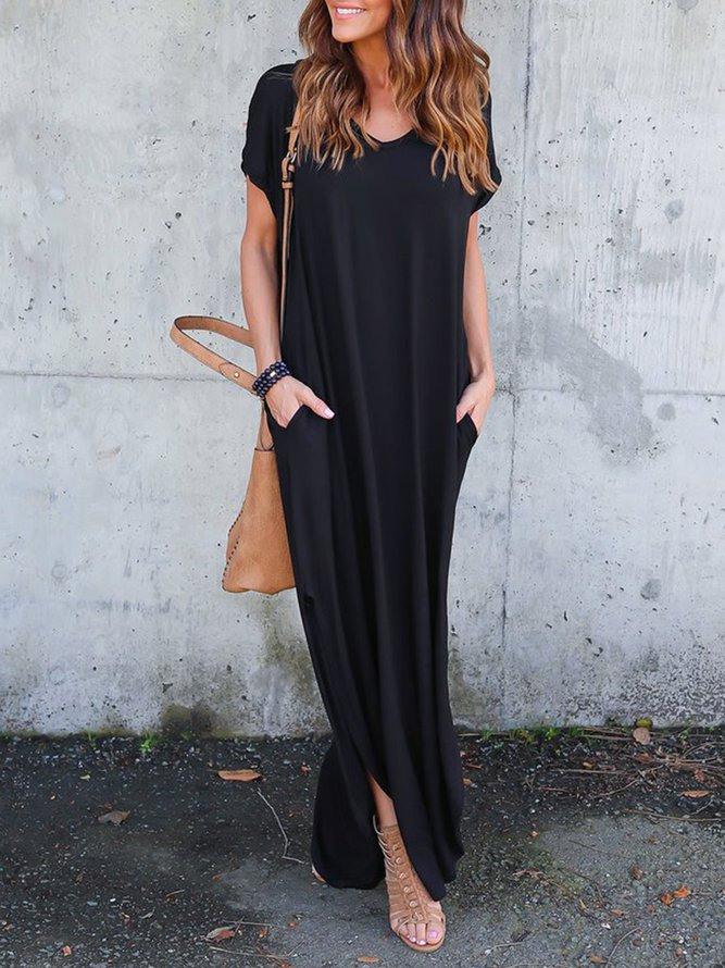 Schwarz Kurzarm Vausschnitt Taschen Maxikleid Kleid