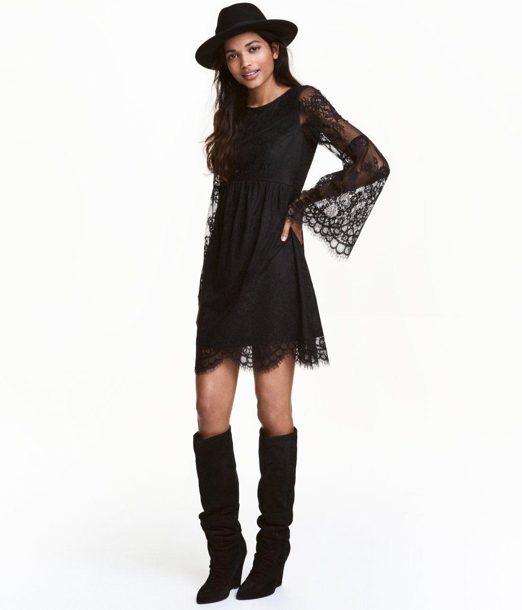 Schwarz Kurzes Kleid Aus Durchbrochener Spitze Das Kleid
