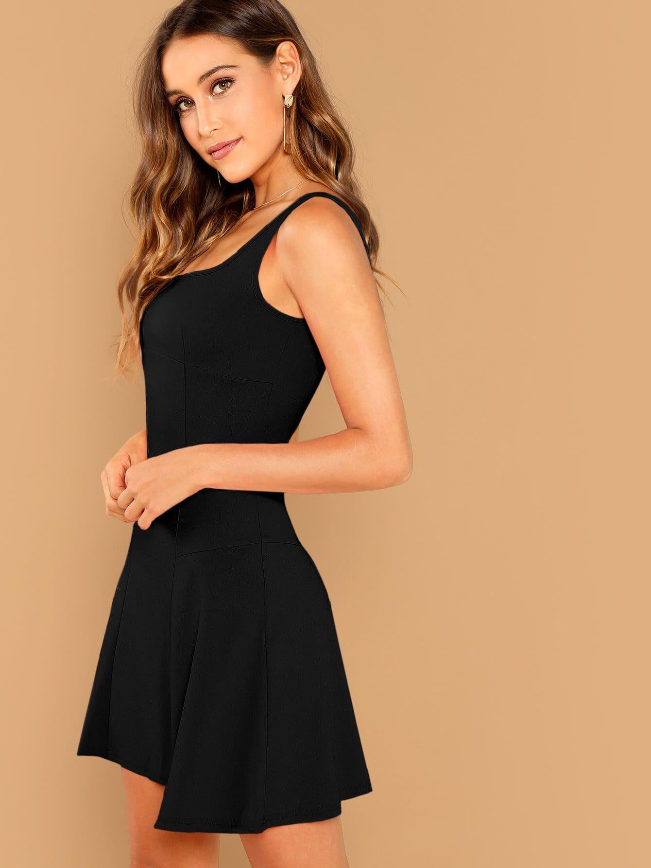 Schwarz Reißverschluss Einfarbig Elegant Kleider  Shein