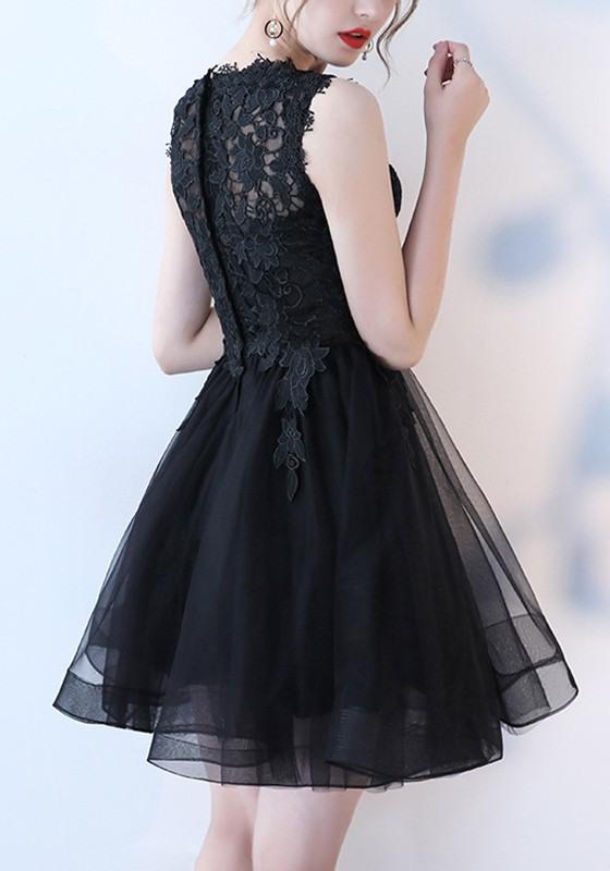 Schwarz Spitze Tüllkleid Ärmellos Tutu Minikleid Elegante