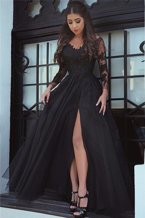 Schwarzes Abendkleid Langärmliges Schwarzes Abendkleid