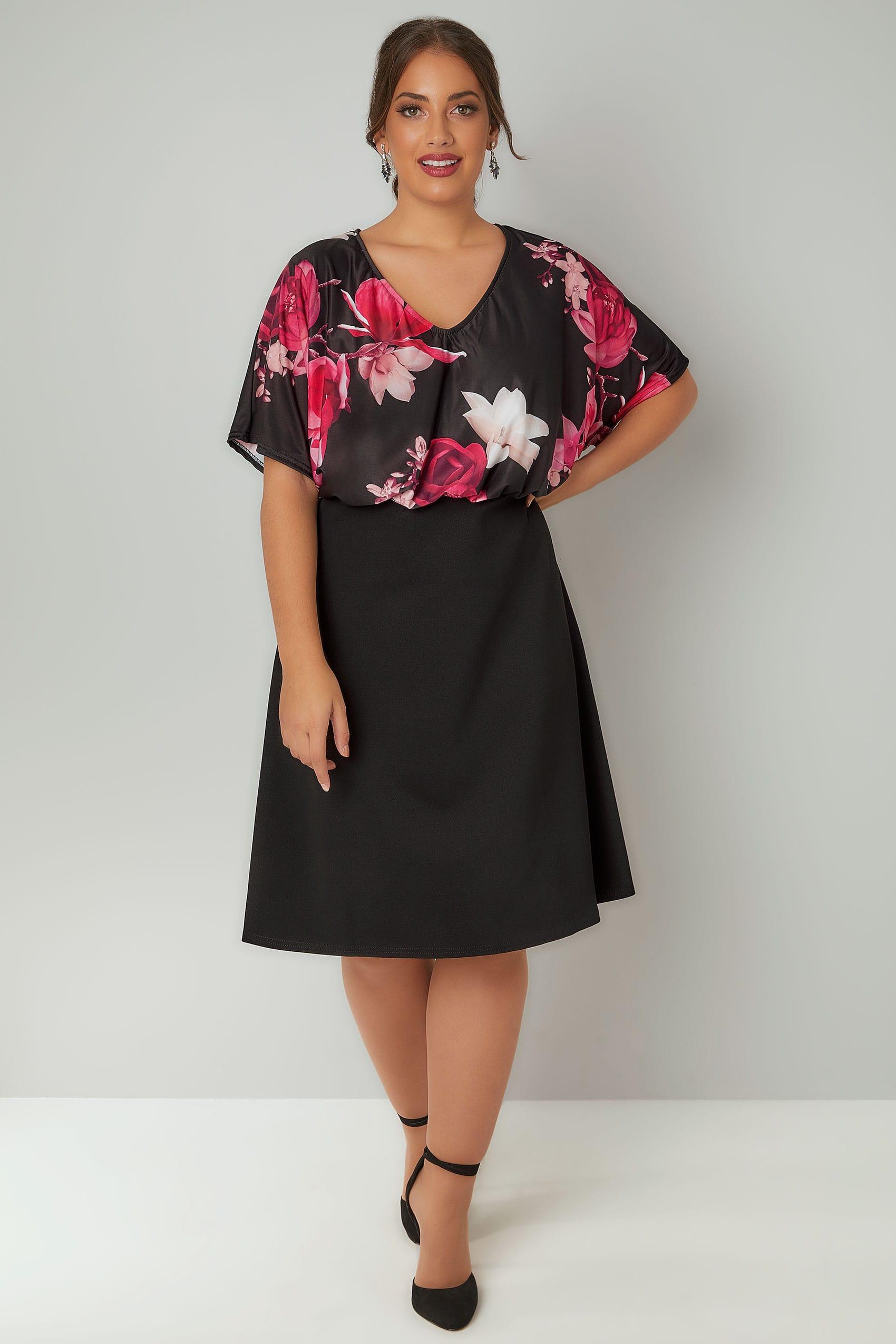 Schwarzes Blumenkleid Mit Gummibund In Großen Größen 44  64