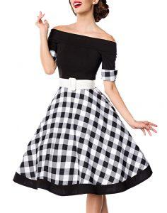 Schwarzes Knielanges Swing Kleid Im High Waist Schnitt Mit