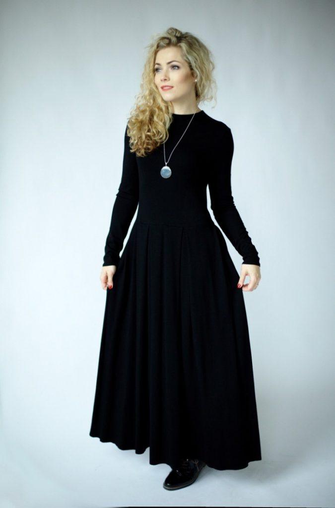 Schwarzes Langes Kleid Mit Ärmeln Langarm Maxikleid