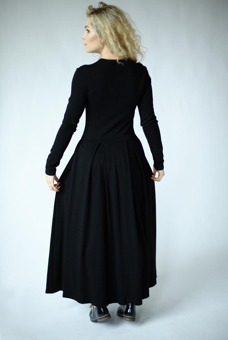 Schwarzes Langes Kleid Mit Ärmeln Langarmmaxikleid