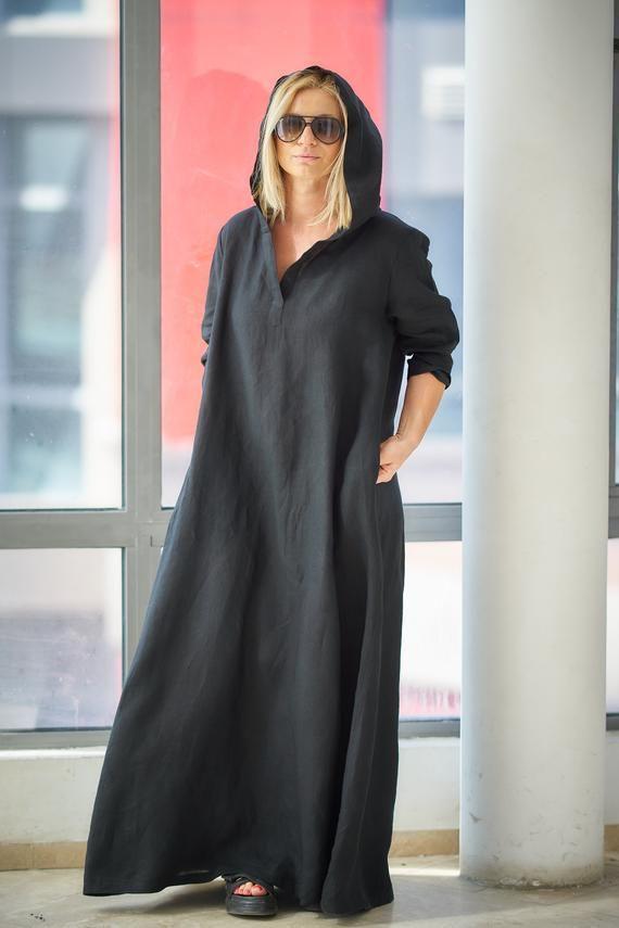 Schwarzes Leinenkleid Plus Size Leinen Kaftan Kleid