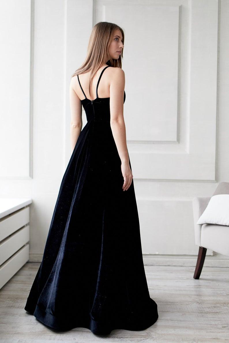 Schwarzes Maxikleid Gothic Hochzeitskleid Prom Kleid Für