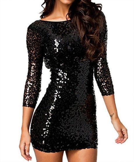 Schwarzes Pailletten Kleid Rückenfrei  Pailletten Kleid