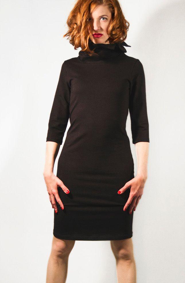 Schwarzes Rollkragenkleid Bleistiftkleid Mit Kragen