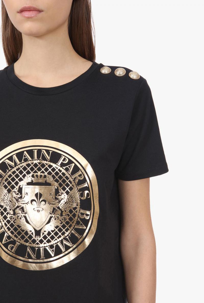 Schwarzes Tshirt Aus Baumwolle Mit Balmainmedaillon