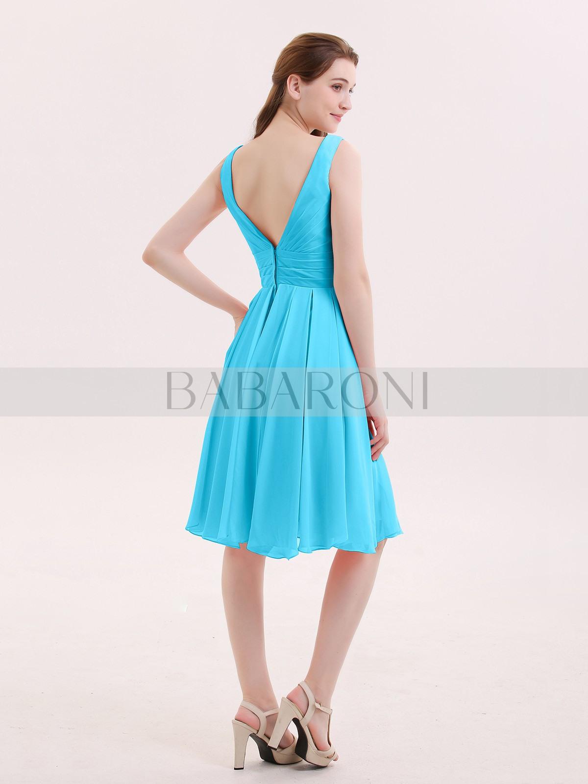 Schwimmbadblau Kurz Chiffon Kleid Mit Vausschnittline