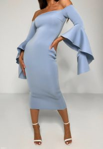 Scuba Bardot Kleid In Midi Länge Mit Rüschenärmeln In Blau
