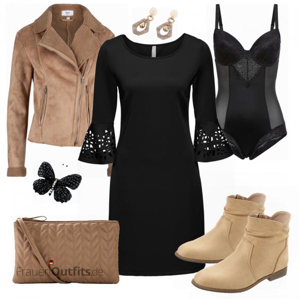 Scubakleid Mit Cutouts Damen Outfit  Komplettes Winter
