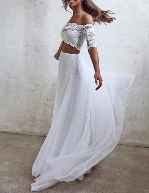 Seductive Spitze 2 Zwei Stück Hochzeit Kleider Sommer
