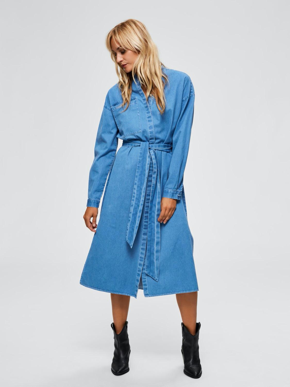 Selected Femme  Jeans Midi Kleid Aus Baumwolle  Die Pampi