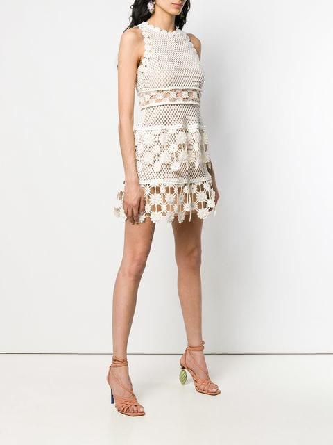 Selfportrait Kleid Aus Spitze Damen White Kleidung