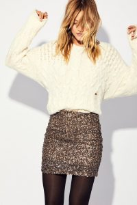 Sequin Mini Skirt  Silvester Outfit Damen Paillettenrock