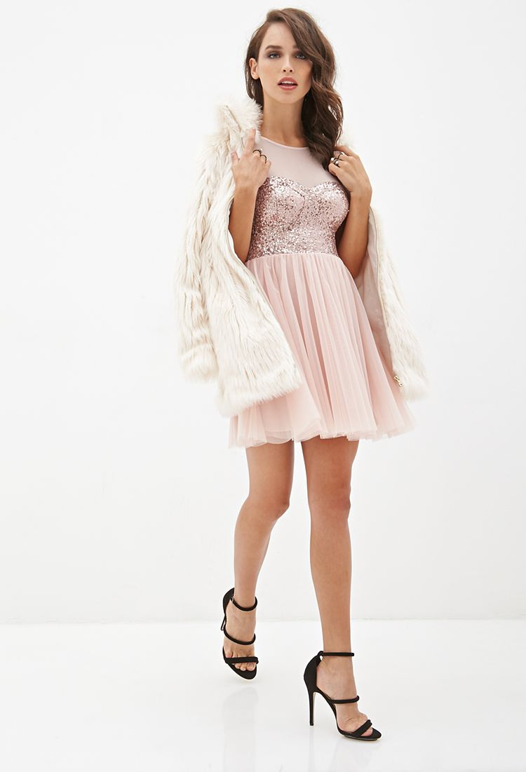 Sequined Tulle Tea Dress  Forever21  2000137739 With