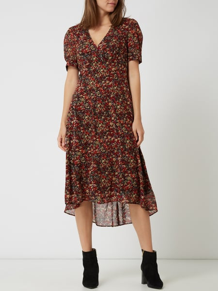 Set Kleid Aus Viskose Mit Floralem Muster In Rot Online
