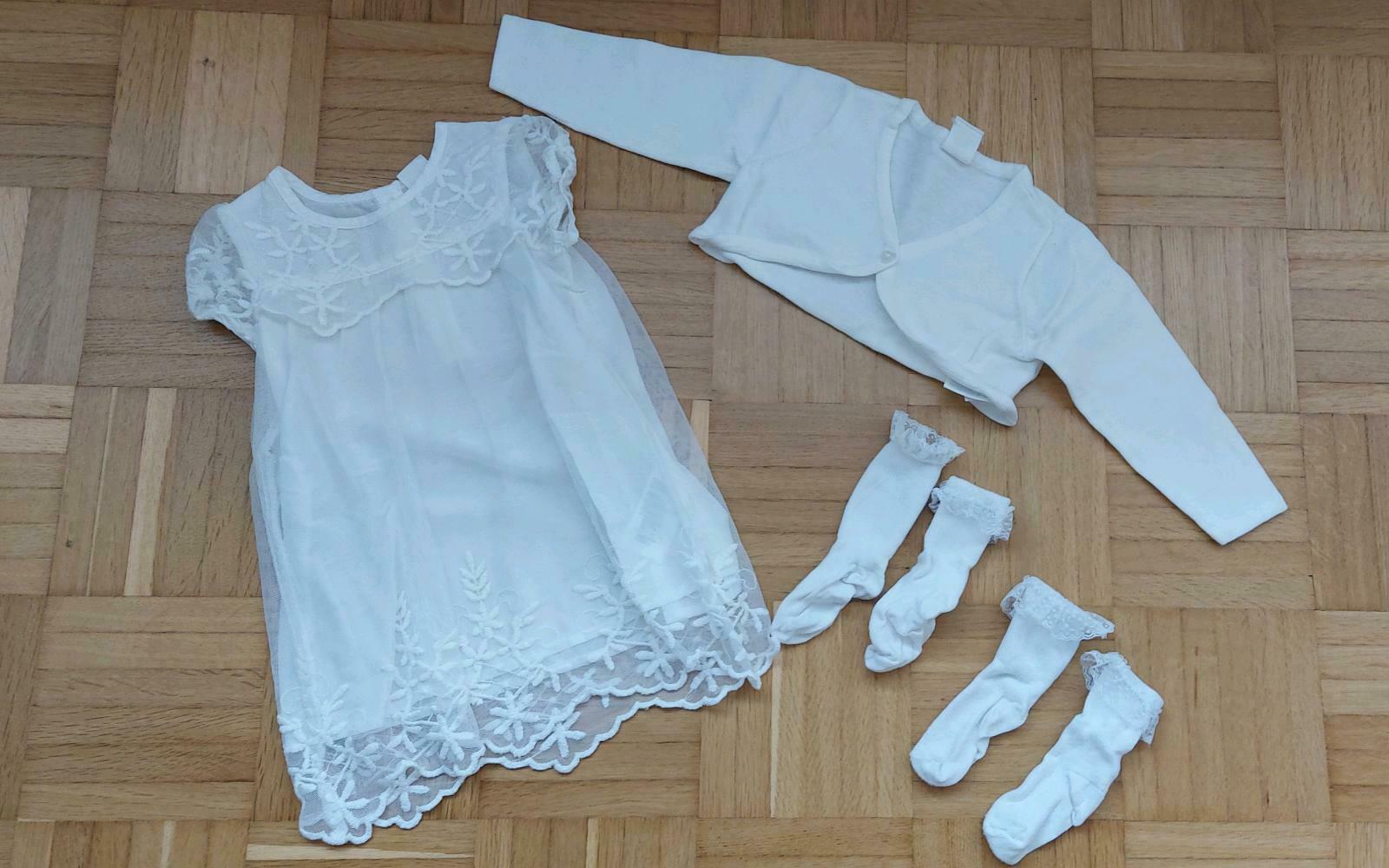 Set Weißes Kleid Taufkleid Bolero Söckchen Hm Gr 68
