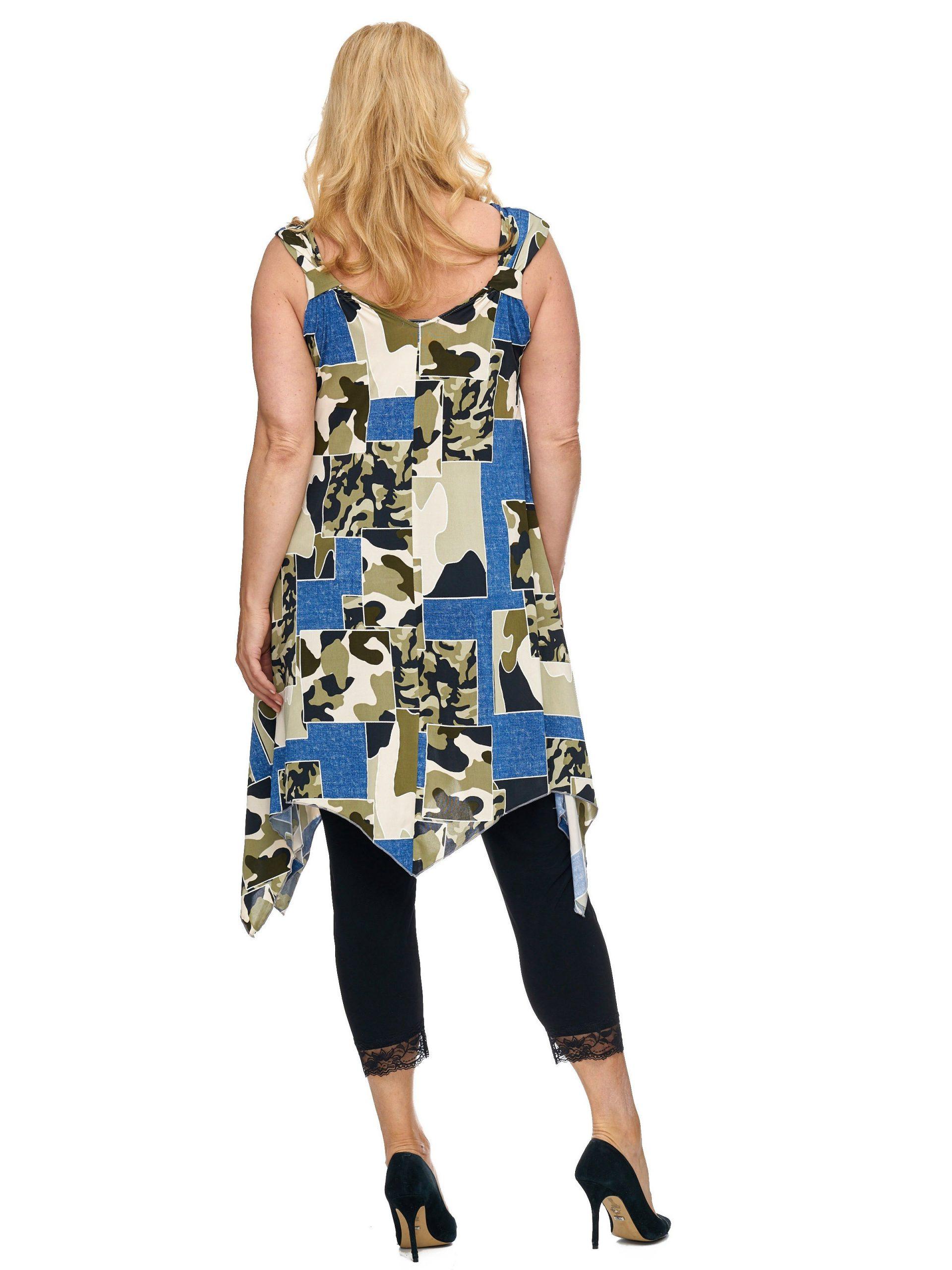 Sexy Alinie Tunika Long Top Kleid Zipfel Camouflage