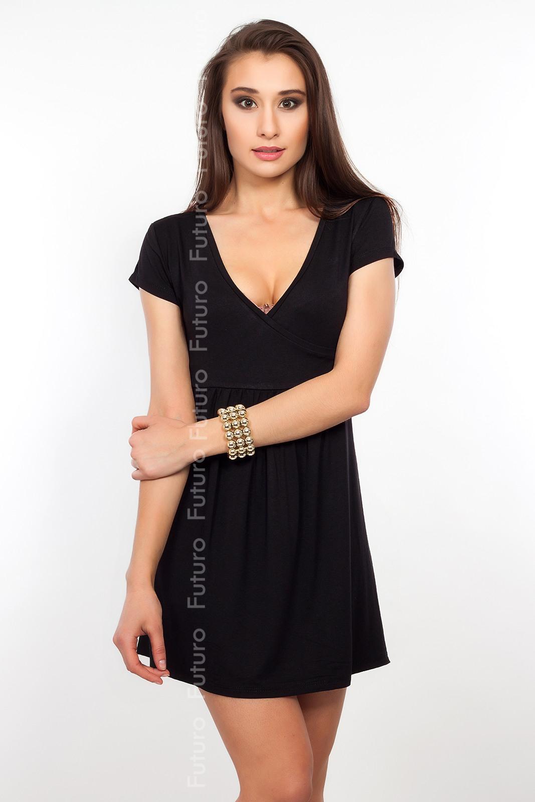 Sexy  Elegant Damen Minikleid Kurz Ärmel V Ausschnitt
