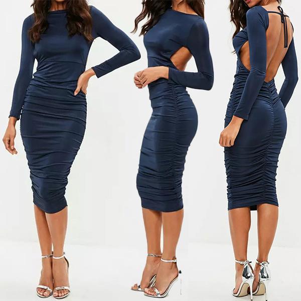 Sexy Figurbetonte Rückenfreie Kleid Mit Schnürung Auf Der