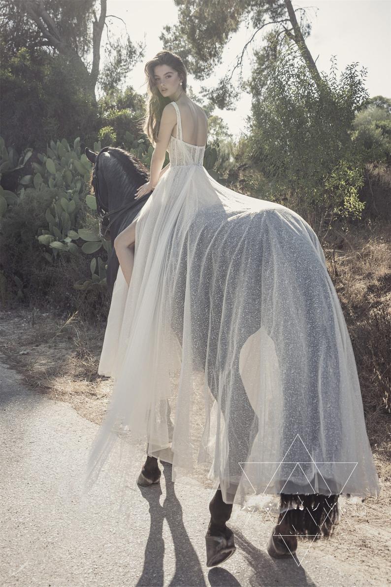 Sexy High Slit Hochzeit Kleid Funkeln Tüll Braut Kleid