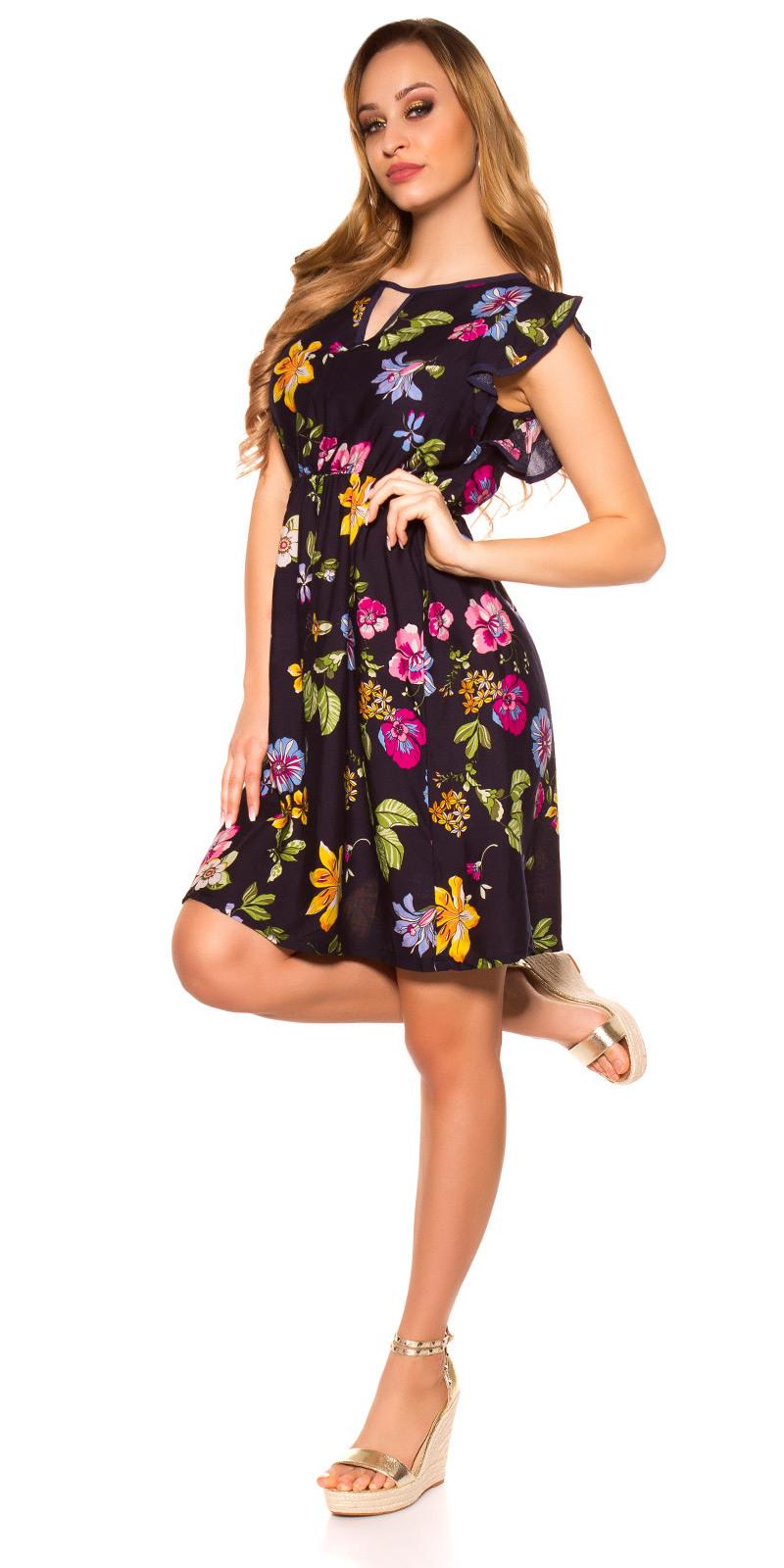 Sexy Sommer Minikleid Mit Blumenprint  Navy  Néamoda