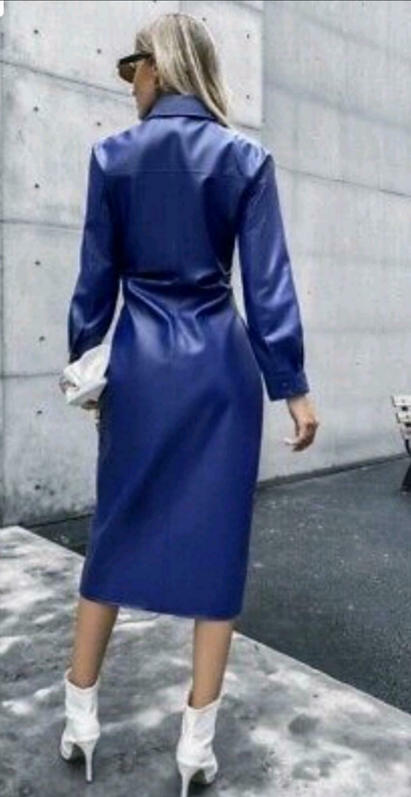 Sexy Zara Royalblau Blogger Lederkleid Leder Kleid S M Neu