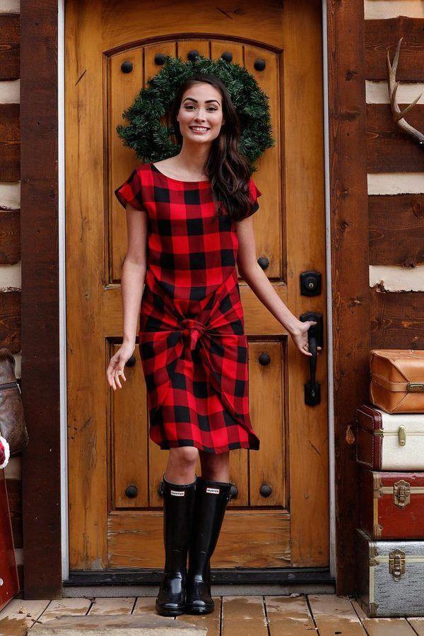 Shabby Apple Buffalo Plaid Jingle Wrap Dress  Jingle