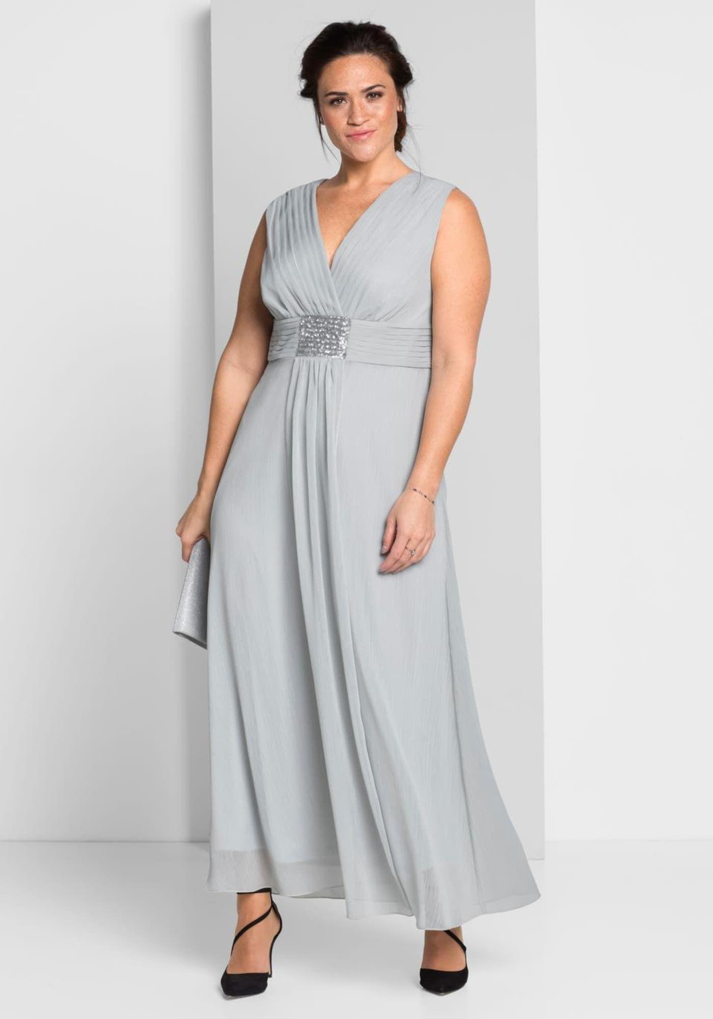 Sheego Abendkleid In Silbergrau 2020  Abendkleid Silber