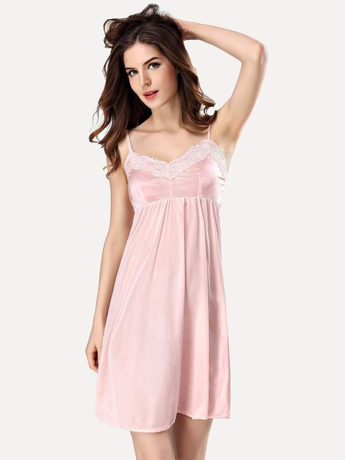 Shein Contrast Lace Satin Cami Dress Lacecontrastshein