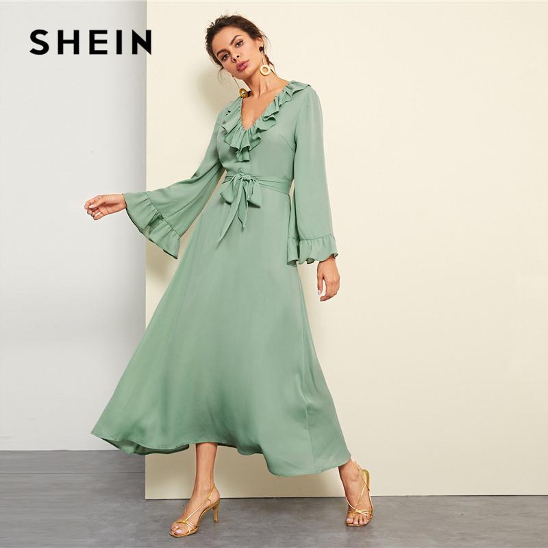 Shein Grün Solide Ruffle Trim Kleid Elegante Casual V